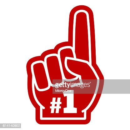 Number 1 one sports fan foam hand with raising forefinger : clipart vectoriel