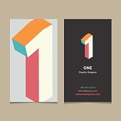 """Number """"1"""", with business card template. Vector graphic design elements for company logo."""