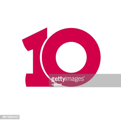 Number 10 vector symbol, simple ten text isolated : stock vector