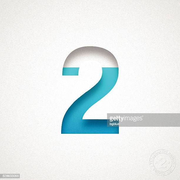 Number 2 Design (Two) - Blue Number on Watercolor Paper