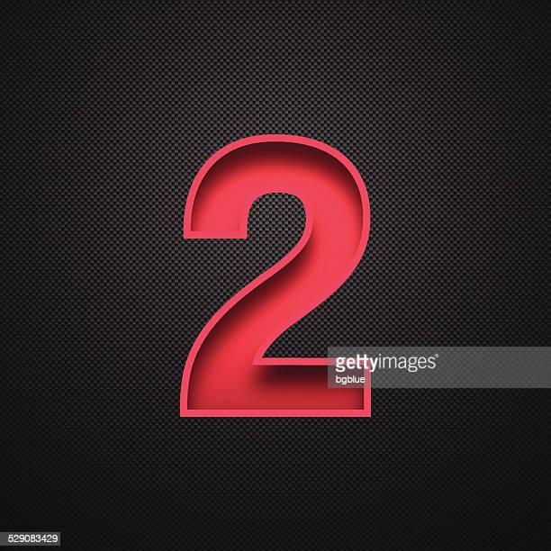 Number 2 Design (Two). Red Number on Carbon Fiber Background