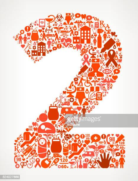 Number 2 Healthcare and Medical Red Icon Pattern