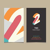 Number '2', with business card template. Vector graphic design elements for company logo.
