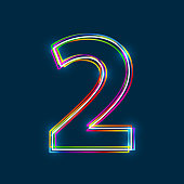 Number 2 - Vector multicolored outline font with glowing effect isolated on blue background. EPS10