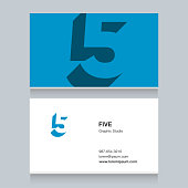 "number ""5"", with business card template. Vector graphic design elements for company ."
