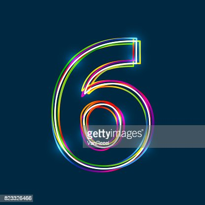 Number 6 - Vector multicolored outline font with glowing effect isolated on blue background. : stock vector
