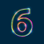 Number 6 - Vector multicolored outline font with glowing effect isolated on blue background. EPS10