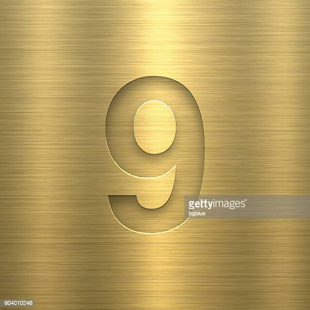 Number 9 Design (Nine). Number on Gold Metal Texture