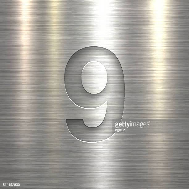 Number 9 Design (Nine). Number on Metal Texture Background