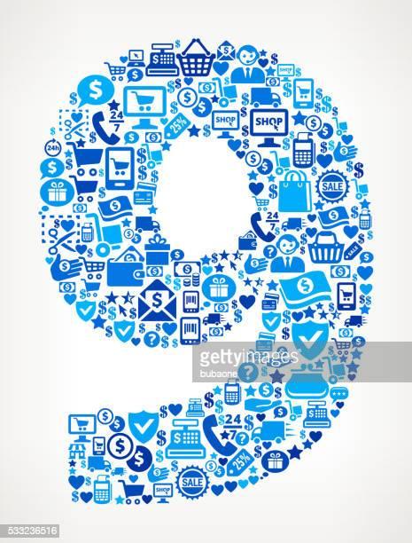 Zahl 9 Shopping und Handel, Blaues Symbol Muster