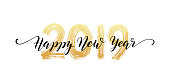 2019 Happy New Year script text hand lettering. Design template Celebration typography poster, banner or greeting card for Merry Christmas and happy new year. Vector Illustration