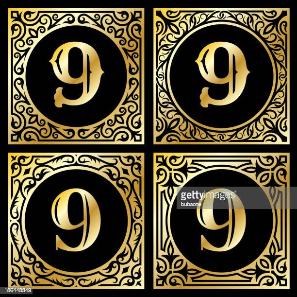 Number Nine in Golden Frame