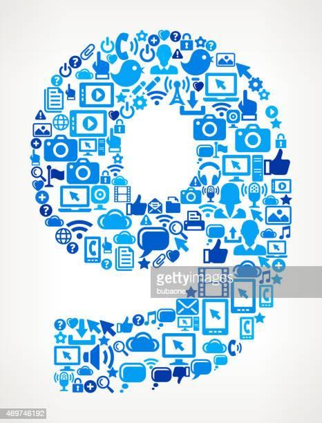 Zahl 9 auf Vektor Technologie Muster Hintergrund