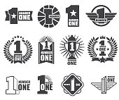 Number one vector icons set. Number 1 label, first icontype banner illustration