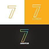 Number seven 7 logo design icon set background 10 eps