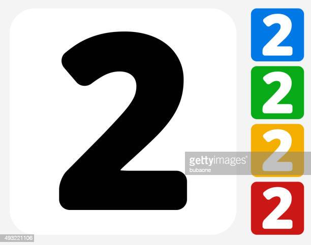 Number Two Icon Flat Graphic Design