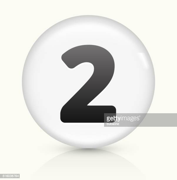 Number Two icon on white round vector button
