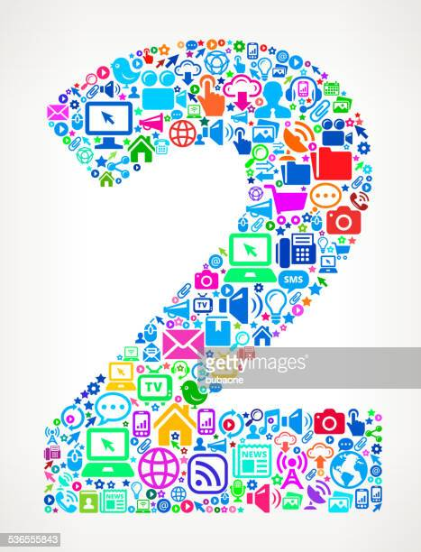 Number Two Modern Technology royalty free vector art Pattern