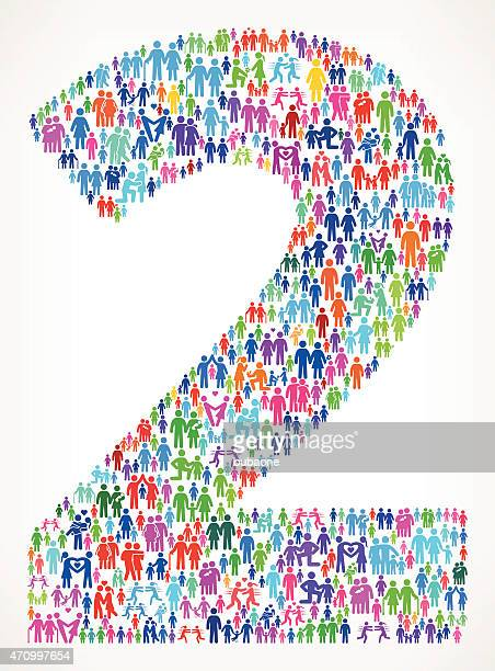 Number Two on vector family pattern Background