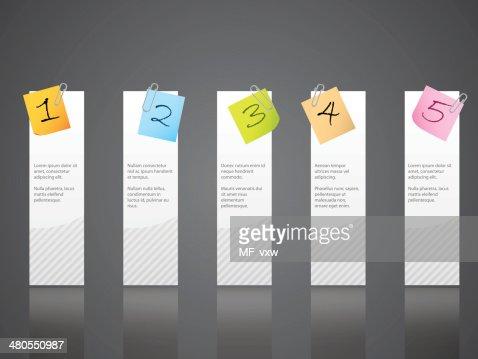 Numerada notepapers anexados ao etiquetas brancas : Arte vetorial