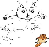 Numbers game, education dot to dot game for children, Flying squirrel