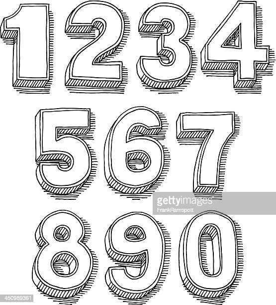 3 D Nummer Set Zeichnung