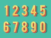 Numbers colourful set in vintage style. Vector elements illustration template for web design or greeting card
