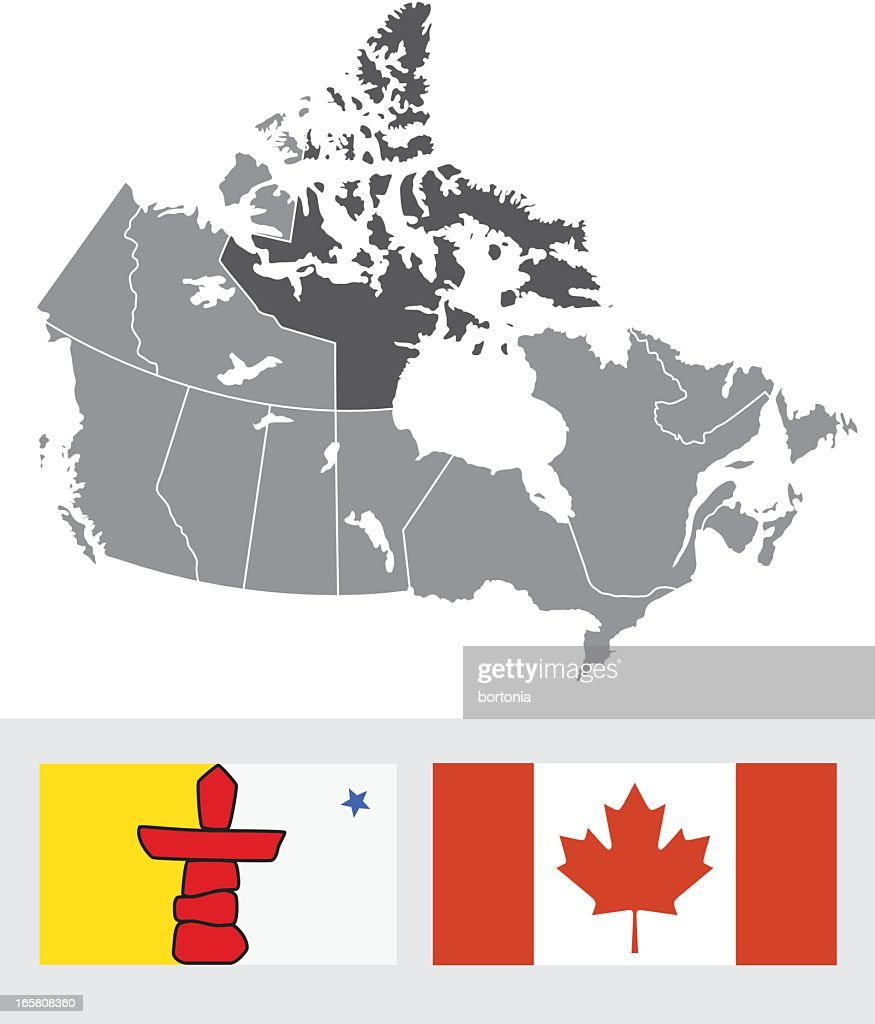nunavut canada map and flag vector art getty images