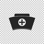 Nurse hat with cross icon isolated on transparent background. Medical nurse cap sign. Flat design. Vector Illustration