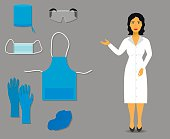 Nurse shows Medical clothing and accessories for work. vector