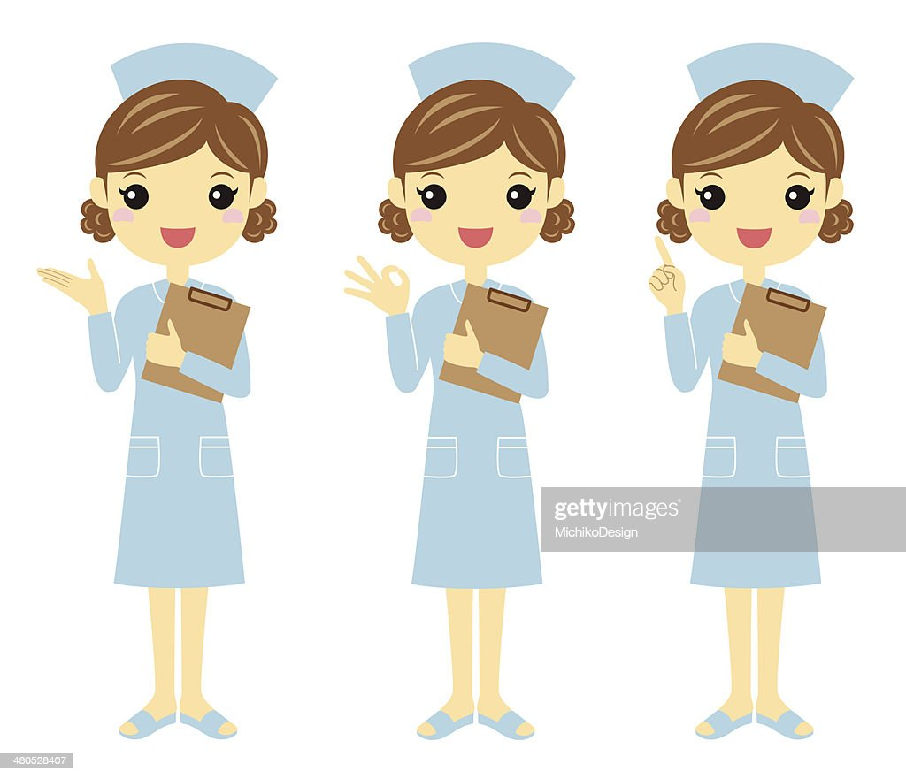 Nurse with different poses : Vector Art