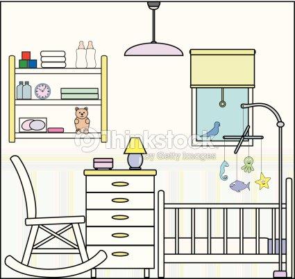 baby oder babyzimmer mit babybett einrichtung und ausstattung vektorgrafik thinkstock. Black Bedroom Furniture Sets. Home Design Ideas