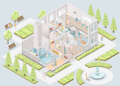 Nursing home. Assisted-living facility. Vector illustration