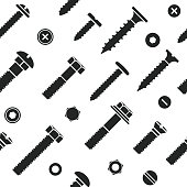 Nut and bolt head icons seamless pattern