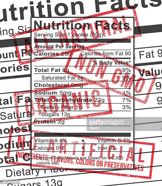 Nutrition Label Rubber Stamps Organic Natural Non GMO food