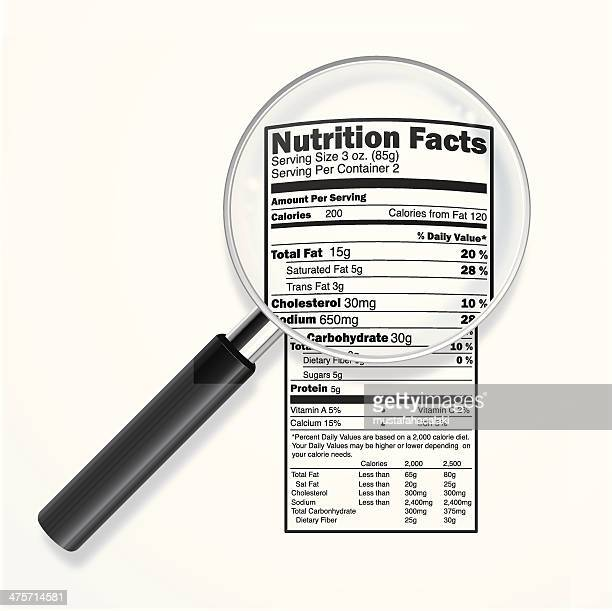 Nutrition label with magnifying lens