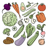VEGETARIAN SET Paleo Natural Diet Food Proper Nutrition Vector Illustration for Print Fabric and Decoration