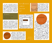 Nuts and seeds  line silhouettes. Vector label designs set with place for text. Flyer, booklet advertising and design.