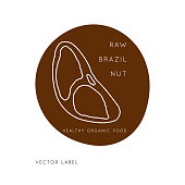 Brazil Nut Vector logo design template with nut icon in linear style. Abstract emblem for organic shop, healthy food store or  vegetarian cafe.