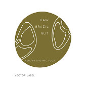Brazil Nut Vector  design template with nut icon in linear style. Abstract emblem for organic shop, healthy food store or  vegetarian cafe.