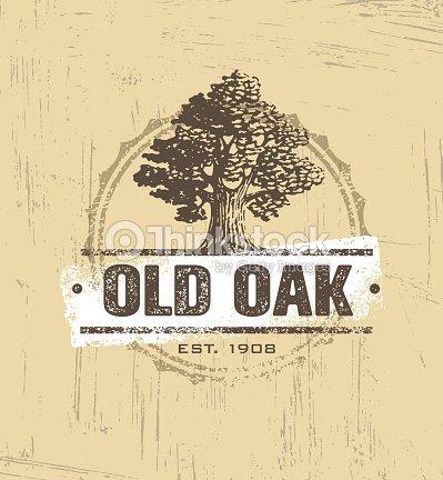Oak Tree Logo Vector Design Art