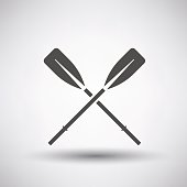 Fishing icon with boat oars over gray background. Vector illustration.