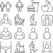 Obese classification, unhealthy overweight people and body appearance levels vector line icons. People body overweight and obesity illustration