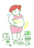 Obese woman with foods.