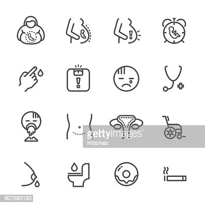 Obesity and Pregnancy,  women health line icons set. Vector icon : stock vector