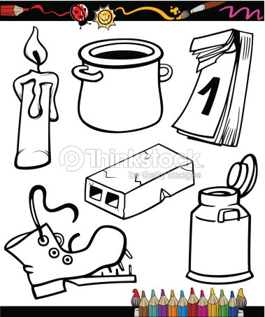 Objects Cartoon Set For Coloring Book Vector Art