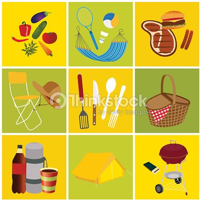 Objects icons set for picnic and recreation