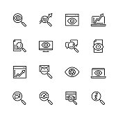Observation and monitoring vector icon set in thin line style