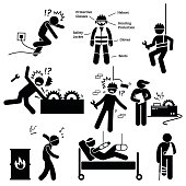 Human pictogram and icons depicting occupational safety and health act for construction workers in workplace site. It is also showing the necessary protective gear for a worker.