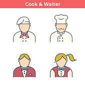Occupations colorful avatar set: cook, chef, waiter, baker. Flat line professions userpic collection. Vector color thin outline icons for profiles, web design, social networks and infographics.